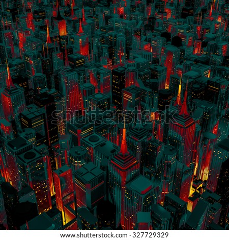 Night city glow cartoon / 3D render of night time city lit from streets below with cartoon style colouring