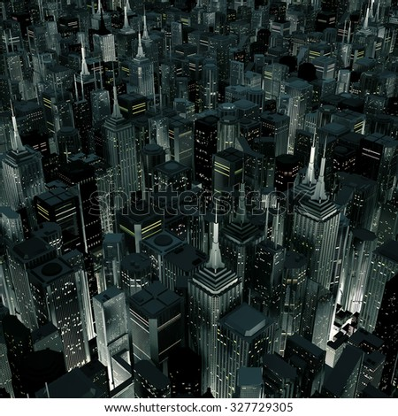 Night city glow / 3D render of night time city lit from streets below - stock photo