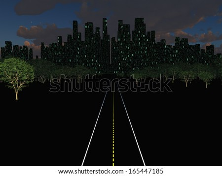 Night city landscape with road - stock photo