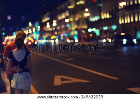 night city life and love - stock photo