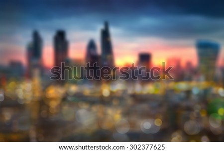Night city lights blur, London - stock photo