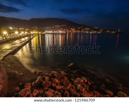 Night city near sea. Ukraine, Black sea, Yalta