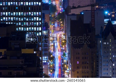 night city, night life, Montreal, Quebec, Canada - stock photo