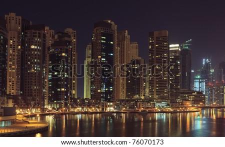 Night city. Panoramic view. Dubai - stock photo