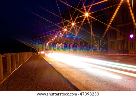 Night city road - stock photo