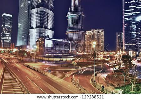 Night city scene - stock photo