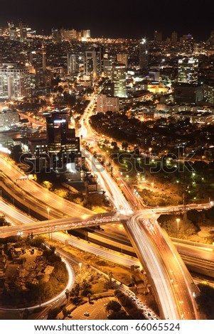 Night city, Tel Aviv at night, Crossroad Traffic - stock photo