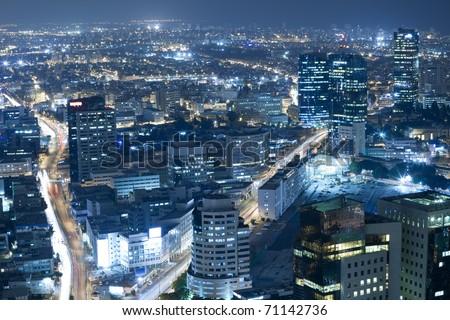 Night city, Tel Aviv at night, Israel - stock photo
