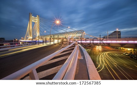 Night city traffic - stock photo