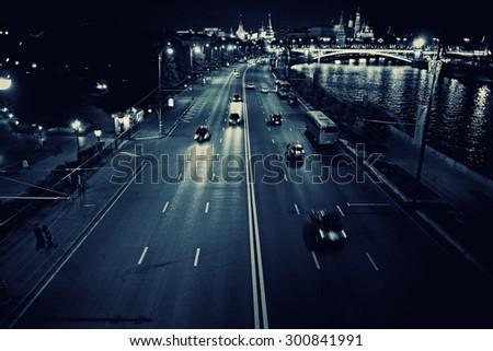 night city traffic lights - stock photo