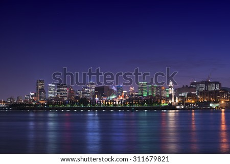 Night City View, Down Town, Montreal, Quebec, Canada - stock photo