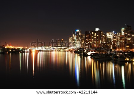 Night city view of downtown Vancouver in Stanley Park, Canada