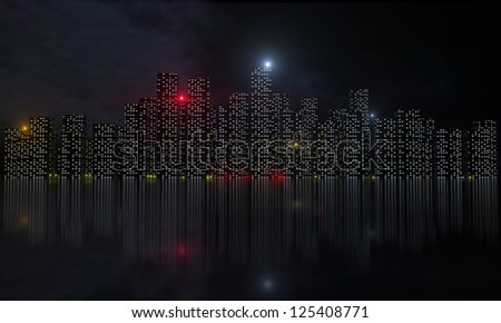 Night city with lights and reflections