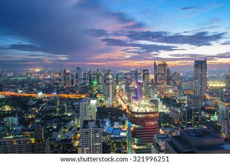 Night cityscape in middle of thailand - stock photo