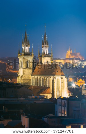 Night cityscape of Prague, Czech Republic. Famous Church Of Our Lady Before Tyn.