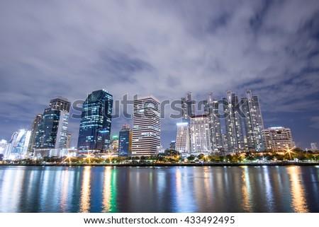 night cityscape Suan benja kitti in Bangkok ,Thailand. - stock photo
