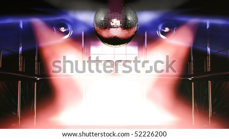 Night club interior with colorful spot lights and shining mirror disco balls artistic light show - stock photo