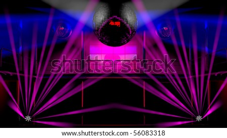 Night club interior with colorful spot lights, lasers and shining mirror disco balls artistic light show - stock photo
