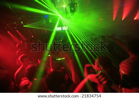 Night Club Music Event Party Laser Lights Background - stock photo