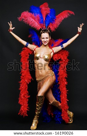 night club performer over dark background - stock photo