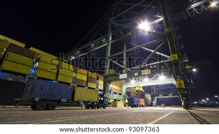 night container operation in port - stock photo