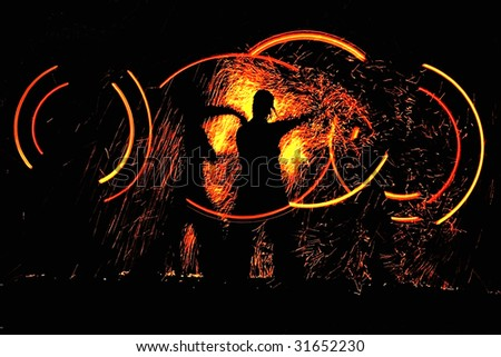 night dance with fire - stock photo