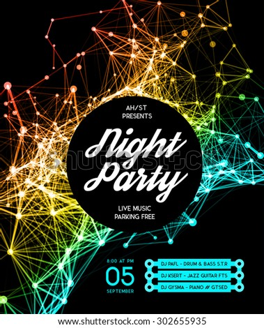 Night Disco Party Poster Background Template Stock Vector ...