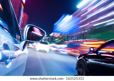 night drive blussed in motion - stock photo