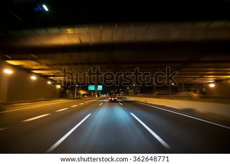 Night driving  - stock photo