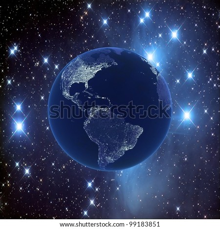 Night earth on the background of the starry sky, 3D images - stock photo