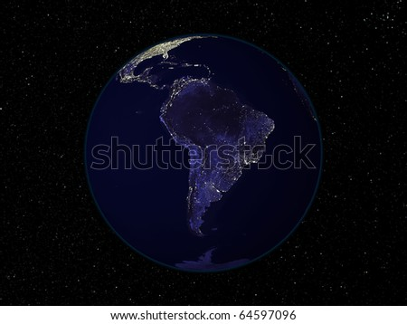 Night Earth view from space with city lights. Focus on South America. Digitally combined from a collection of satellite-based observations. - stock photo
