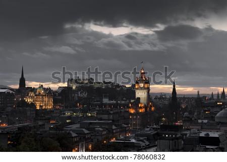 night edinburgh - stock photo