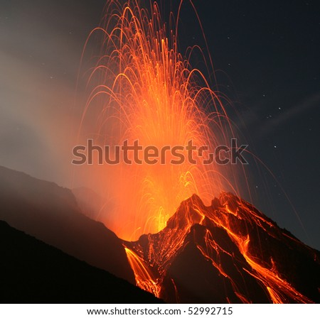 Night eruption a volcano Stromboli - stock photo