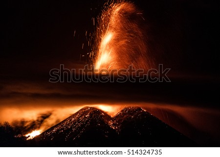 Night Eruption of Volcano Etna