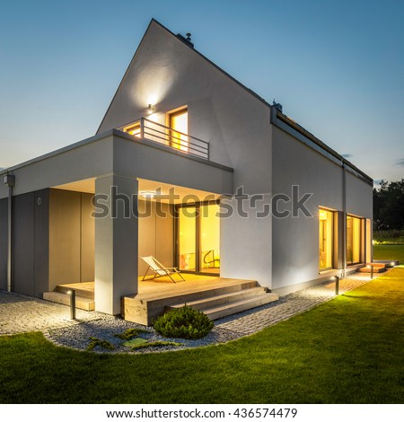 Outdoor lighting stock images royalty free images vectors night external view of a contemporary house with outdoor lighting mozeypictures Choice Image