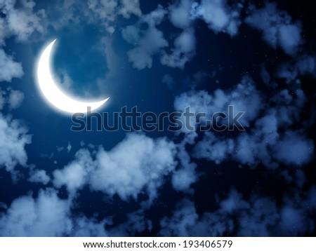 Night fairy tale - bright moon in the night sky - stock photo