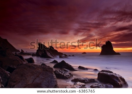 Night falling in Adraga beach, Portugal - stock photo
