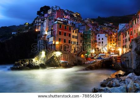 Night falling over Riomaggiore, Cinque Terre, Italy - stock photo