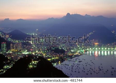 Night Falls over Rio de Janeiro, Brazil - stock photo