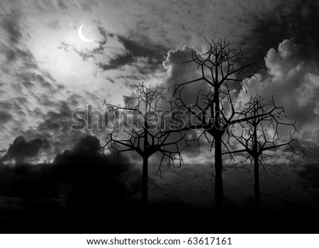 Night fantasy landscape with  trees  ( rendering 3d graphics)