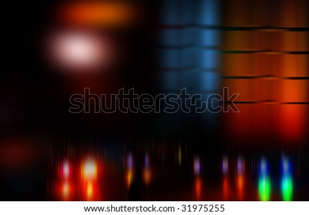 Night fires of a modern city - stock photo