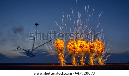 Night fireworks air show. - stock photo