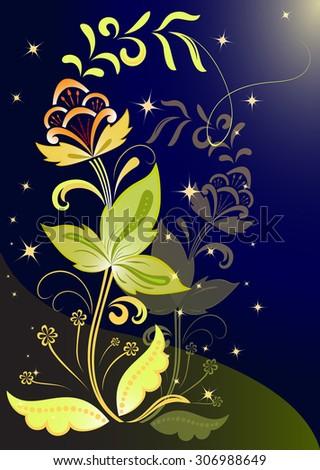 Night flower background. - stock photo