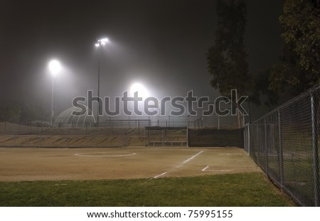 Night Fog in a Sport Park - stock photo