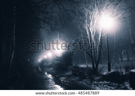 Night fog in the city
