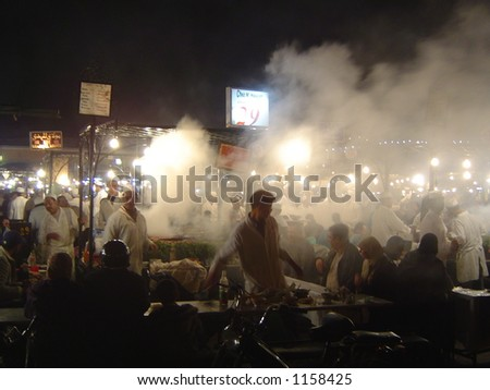 Night Food stalls – Marrakesh (some noise and focus problems at full size) - stock photo