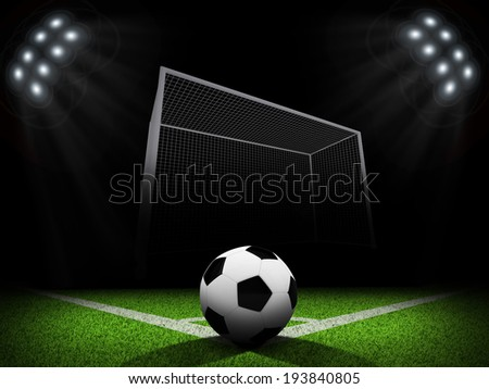 Night football arena illuminated by spotlights. Ball in the corner of field. Sports background