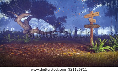 Night forest with old wooden signpost on foreground and with silhouette of a grim reaper in the distance. Realistic 3D illustration was done from my own 3D rendering file. - stock photo