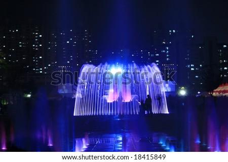 Night Fountain - stock photo