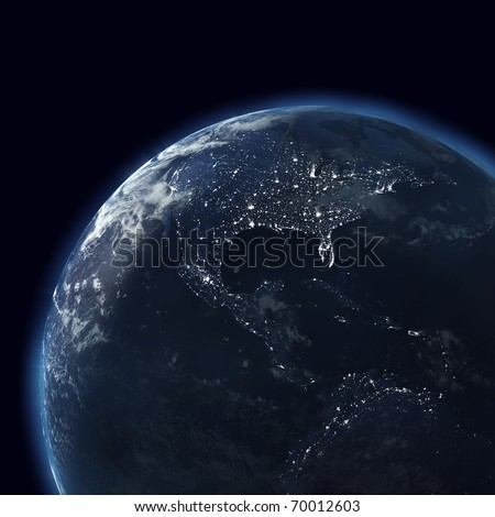 night globe with city lights, detailed map of america, usa - stock photo